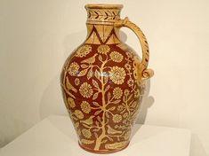 Wonderful large harvest jug Oakwood Ceramics features the work of Devon slipware potter Doug Fitch.