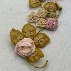 Antique French Ribbon Work Roses Buds Leaves Bouquet