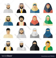 Arab people icons. Muslim people, arabian people, islam people woman and man. Vector illustration set. Download a Free Preview or High Quality Adobe Illustrator Ai, EPS, PDF and High Resolution JPEG versions.