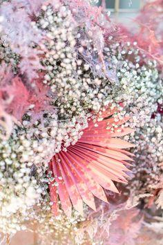 Bulk Wedding Flowers, Palm Wedding, Wedding Flower Packages, Wedding Wall, Spray Paint Babys Breath, Spray Paint Flowers, Little White Chapel, Fair Photography, Flower Packaging