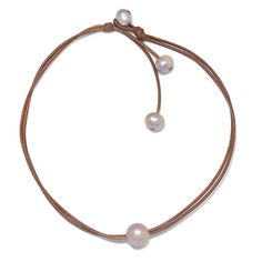 Wendy Signature Freshwater Necklace, in Rose. Fine Pearls + Leather Jewelry® http://www.wendymignot.com/category-s/1933.htm