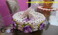 Porta Pratos de Crochê com flores por Carine Maria Strieder