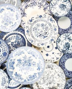 In my next life, nothing is going to match! This beautiful vintage assortment comes from Blue Dishes, White Dishes, Blue And White China, Blue China, China China, Blue And White Dinnerware, Blue Dinnerware, Hamptons Style Decor, Terracotta