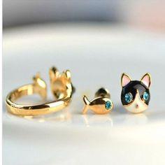Korean Fashion Lovely Elegant Cat and Fish Earring Stud Ring For Girl 1 Set #Stud