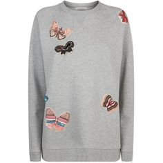 Valentino Butterfly Embroidered Sweatshirt found on Polyvore featuring tops, hoodies, sweatshirts, embroidery top, ruffle top, flutter-sleeve tops, frill top and embellished sweatshirt