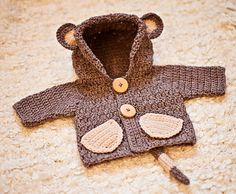 Crochet PATTERN - Monkey Hooded Cardigan (sizes baby up to 8 years) (English only) Double Crochet, Single Crochet, Crochet Baby, Chain Stitch, Slip Stitch, Baby Up, Hooded Cardigan, Light Beige, Repeating Patterns