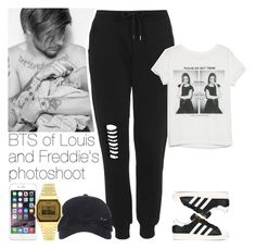 """""""BTS of Louis and Freddie's photoshoot"""" by lottieaf ❤ liked on Polyvore featuring adidas, Topshop, MANGO, NIKE, OneDirection, louistomlinson and freddietomlinson"""