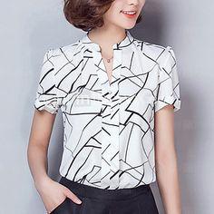 Mulheres Camisa Trabalho Simples / Moda de Rua Verão,Geométrica Branco / Preto Raiom / Poliéster Decote V Manga Curta Fina - BRL R$33,77