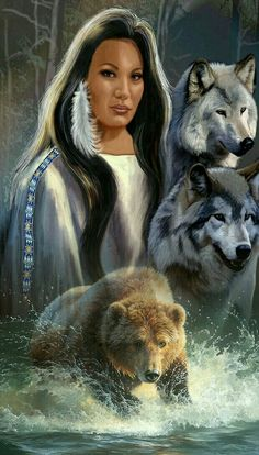 Save Gray Wolf, buy quality products and provide wolf sanctuary! Native American Girls, Native American Wisdom, Native American Pictures, Native American Artwork, Native American Beauty, American Indian Art, Indian Pictures, Wolves And Women, Spiritual Animal