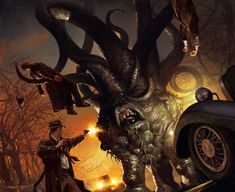 Horns of the Black Goat (2004) by Michael Komarck Art for the Call of Cthulhu CCG. ©2004 fantasy flight games