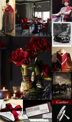 red gray wedding | gray+red-theme