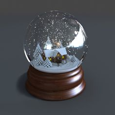 3d model of snow globe animations - Snow Globe Animated  Winter... by 3D_Multimedia