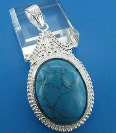 GEM013-Sterling Silver Oval Turquoise cabochon Pendant  http://www.craftandjewel.com/servlet/the-938/GEM013-dsh-Sterling-Silver-Oval-Turquoise/Detail