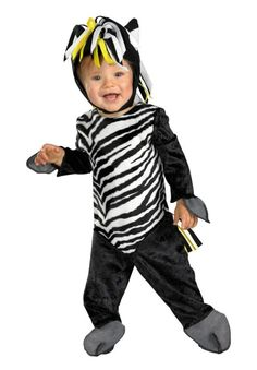 Zany Zebra Infant Costume 12-18 Months What's black and white and cute all over? Includes black and white striped jumpsuit, matching headpiece with fringe mane, and detachable tail.