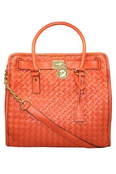 Michael Kors Hamilton Woven Large N/S Tote In Persimmon