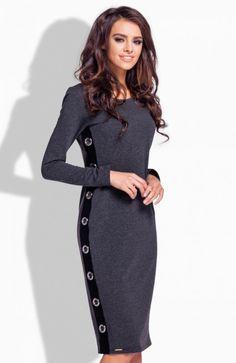 Lemoniade L171 sukienka grafitowa  Szykowna sukienka podkreślajaca kobiece kształty, wykonana z miękkiej bawełnianej dzianiny, z długim rękawem, długość midi High Neck Dress, Dresses For Work, Fashion, Turtleneck Dress, Moda, Fashion Styles, Fasion, High Neckline Dress