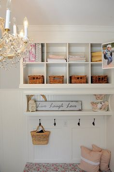 IKEA bookshelf turned built in- like this for laundry room or Hallway leading into laundry room