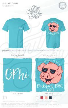 Gamma Phi Beta | Backyard BBQ | Barbecue | Barbeque | Cartoon Pig Design | G Phi B | Philanthropy Ideas | South by Sea | Greek Tee Shirts | Greek Tank Tops | Custom Apparel Design | Custom Greek Apparel | Sorority Tee Shirts | Sorority Tanks | Sorority Shirt Designs