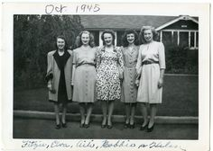 Five stylish, lovely young women (1945).
