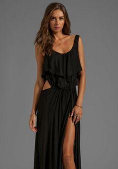 Zanzibar Flounce Cut Out Maxi Dress in Black - Lyst Vacation Style 6f40e60df