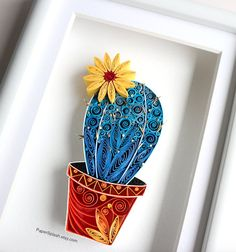 Cactus Paper Artwork Framed,Framed succulent decor,Blue Cactus Plant,Succulent art,Potted cactus,Quilled,Pincushion cactus .....................................................................................................................................................................