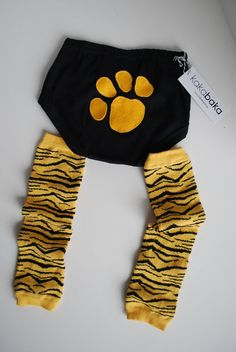 MIZZOU Cotton Diaper Cover Black with Gold Tiger Paw by kakabaka, $12.00
