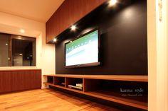 芦屋市K邸テレビボード。チーク材と黒革が大人の雰囲気。 | kanna