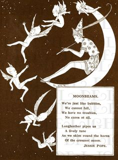 Moonbeams Poem | Cosmic Fantasy Illustration Art Print | Elf, Fairys & Crescent Moon | Moonchild Quote | Vintage Fairytale Book Page