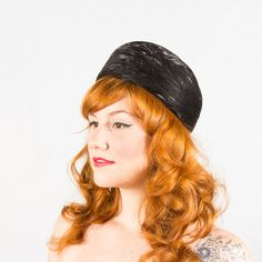 1960s vintage hat / black feather pillbox / Glossy on Etsy, $34.00