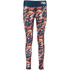 Women's Denver Broncos Orange/Navy Shatter Repeat Leggings