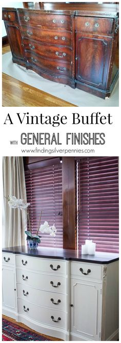 A vintage buffet gets a makeover with some Bondo, gel stain and milk paint from General Finishes. Diy Furniture Projects, Paint Furniture, Furniture Making, Furniture Makeover, Furniture Design, Dresser Makeovers, Refurbished Furniture, Repurposed Furniture, Distressed Furniture