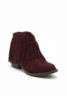 Wine Suedette Fringe Booties From The Deb Shop - everything is better in this color!
