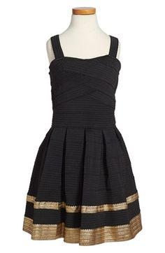 Free shipping and returns on Elisa B Bandage Dress (Big Girls) at Nordstrom.com. Metallic gold trim accents a stylish bandage dress in a darling fit-and-flare silhouette.<br />