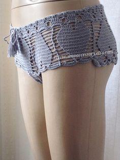 Crochet Shorts Lace Shorts Heart Shorts Beach by senoAccessory