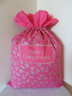 Merry Christmas Pink and Silver Santa Sack by UniqueGiftsByRhonda