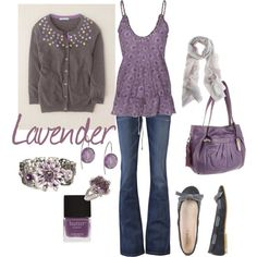 Lavender and grey, created by kristen-344.polyvore.com