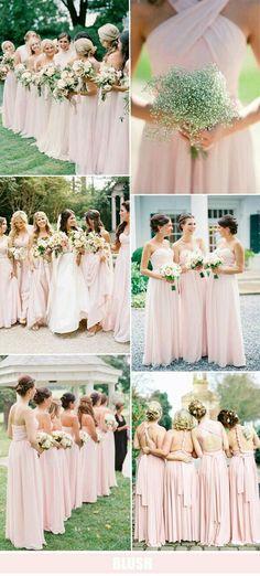 pretty blush pink bridesmaid dresses