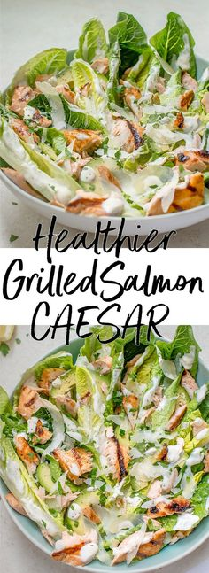 Healthy Grilled Salmon Caesar Salad This Healthier Grilled Salmon Caesar Salad Is Lightened Up So You Can Have That Fabulous Caesar Taste Without All The Extra Calories Healthy Caesar Salad, Grilled Salmon Salad, Salmon Salad Recipes, Chicken Caesar Salad, Salad Dressing Recipes, Healthy Salad Recipes, Healthy Drinks, Caesar Salad Calories, Meals