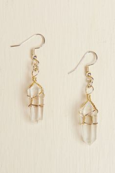 Wire Wrapped Quartz Earrings - Earthbound Trading Co.