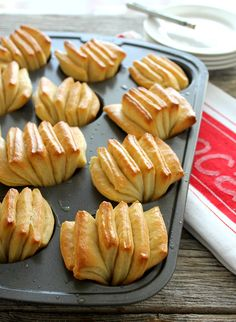Butter Fan Rolls are easy to make with these step by step instructions and illustrations. Flaky, butter, and tender. And beautiful. Yeast Rolls, Bread Rolls, Bread Shaping, Bread And Pastries, Dinner Rolls, Recipe Using, Cooking Recipes, Bread Recipes, Favorite Recipes