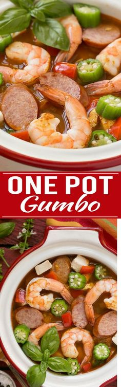 This one pot chicken and shrimp gumbo is a healthy and easy meal that's ready in just 30 minutes! Easy Chicken Recipes, Fish Recipes, Seafood Recipes, Soup Recipes, Cooking Recipes, Healthy Recipes, Recipe Chicken, Gumbo Recipes, Cajun Recipes