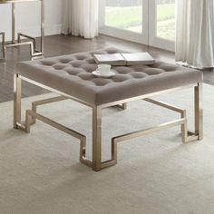 Plywood Furniture, Acme Furniture, Cool Furniture, Ottoman Table, Tufted Ottoman, Leather Ottoman, Fabric Coffee Table, Coffee Tables, Elegant Sofa