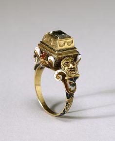 Diamond Ring, gold, enamel and diamond. European, circa 16th century