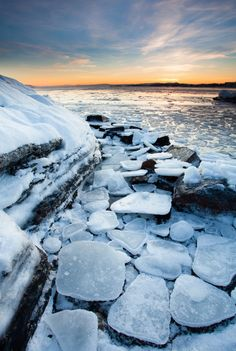 """On the Rocks by Lars Øverbø via 500px. """"An almost frozen fjord captured at Huk near Oslo, Norway."""""""