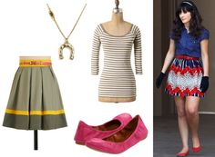 I don't love Zooey Deschanel, but  I must say I kind of identify with her character on New Girl (the awkward singing to herself and super bright outfits and flats, anyway)