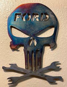 Punisher Ford Mechanic Plasma cut Art | Etsy Plasma Table, Cnc Plasma, Plasma Cutting, Fords 150, Punisher Skull, Welding Art, Scroll Saw, Metal Art, Color Change