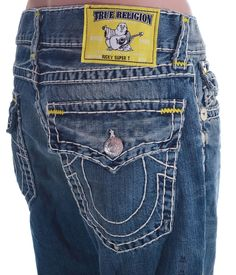 True Religion Mens Jeans Size 40 Straight W Flap Super T with Yellow Bartack NWT #TrueReligion #ClassicStraightLeg