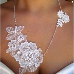 Delicate White lace necklace. Repurpose a lace applique into a lovely LIGHTWEIGHT necklace.