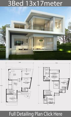 haus design Home design plan with 3 bedroom. Modern style two-storey house, 3 bedrooms, 4 bathrooms with modern architectural lines Make the house stand out 2 Storey House Design, Bungalow House Design, House Front Design, House Layout Plans, House Layouts, Mediterranean Homes Exterior, Mediterranean Style, Exterior Homes, Mediterranean Architecture