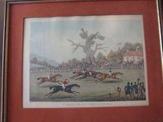 Vintage St. Albans Grand Steple Chase. Plate 4. Etching Print With Wooden Frame